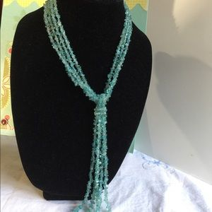 Milky aquamarine gemstone necklace